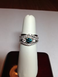 White Gold Blue&Clear Diamond Ring