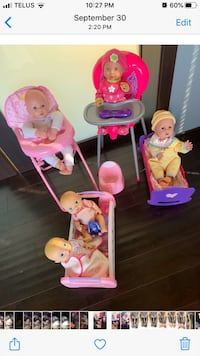 5 baby dolls,2 high chairs,2cribs,1 potty
