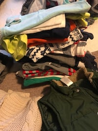 Bag of 18-24 month Boys clothes Everything from Pyjamas, Bathing Suits, Pants, T-Shirts, Shorts, Sweaters to Track Suits! At least 12 Onesies 15 Pairs of pants and a Fall Vest! The whole lot for $75 Mississauga, L5W 0G6