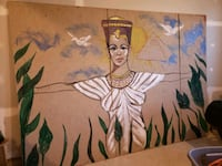 Plywood Egyptian Queen wall. In three pieces. Clinton, 20735