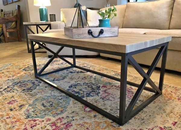 Solid Wood Industrial Style Coffee Table 2 End Tables New