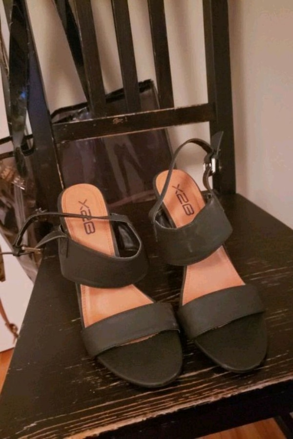 black and brown leather open toe ankle strap heels