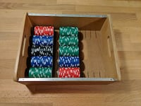 Poker chips in wood tray Cambridge