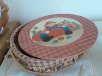 round brown and blue wooden table Rosamond