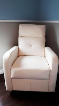 Faux Leather Reclining Chair Soft Off White Dorval