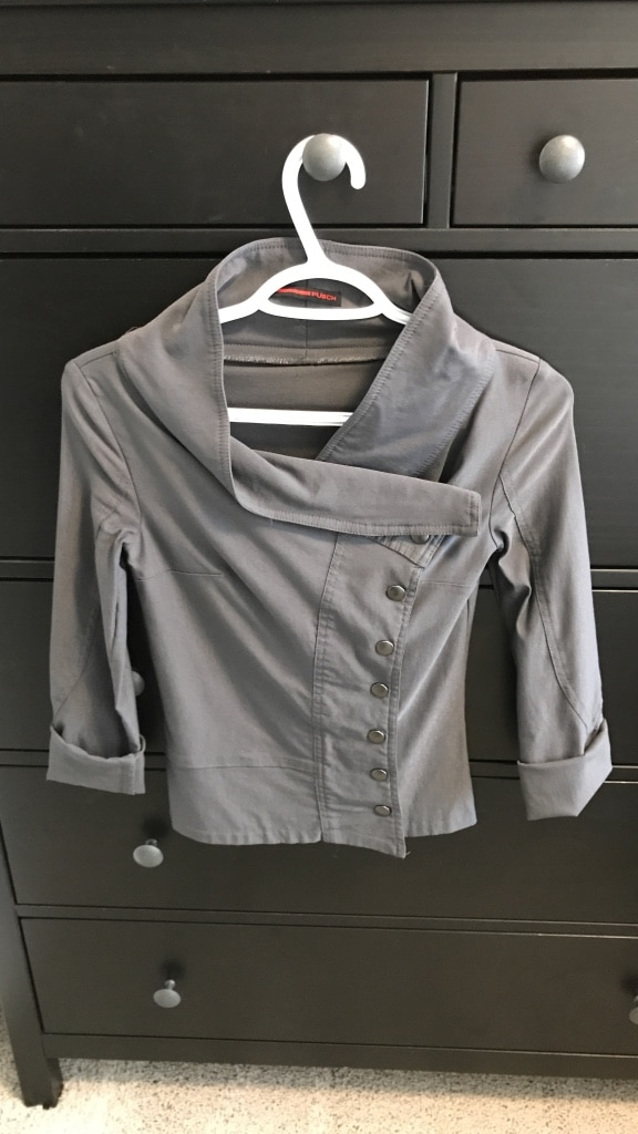 Gray button up long sleeve coat