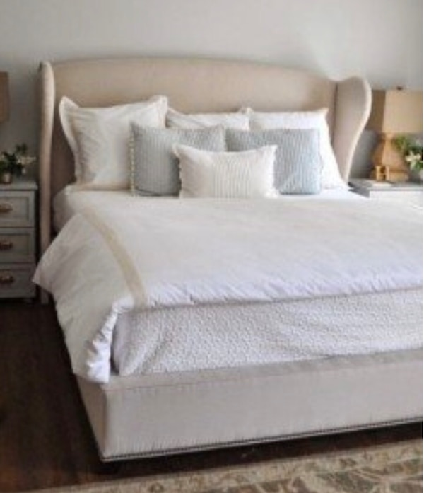 Used King size tan bed frame with wingtips for sale in Phoenix - letgo