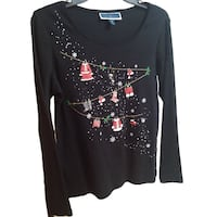 nwt Karen Scott Cotton Christmas Top M Burnaby