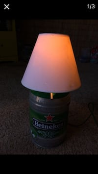 Green and white heineken table lamp with white cone lamp shade