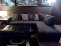 black leather sectional sofa with throw pillows Colorado Springs, 80903