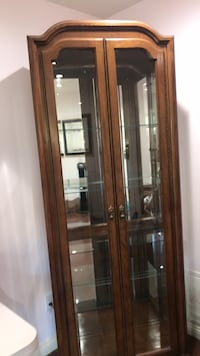 Brown wooden framed glass display cabinet Los Angeles, 91307