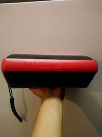 red and black leather case