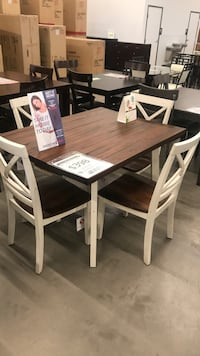 rectangular brown and white wooden dining table with chairs set Mesa, 85205