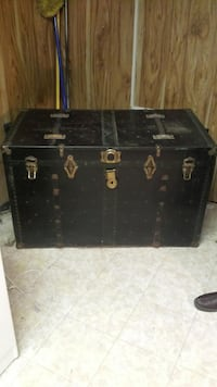 black and brown wooden chest box WASHINGTON