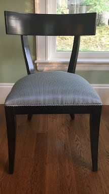 3 Restoration Hardware Dining Chairs, espresso finish, blue striped fabric