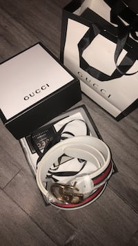 white Gucci leather belt with box Glendale, 91204