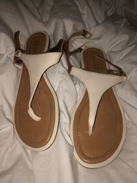 pair of brown-and-white leather sandals Ottawa, K1C 7H1
