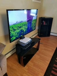 TV STAND. Metal and glass.  Levittown
