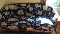 Blue and white floral 3 seat sofa with 2 end tables and coffee table