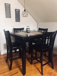 rectangular brown wooden table with six chairs dining set Belleville, 07109
