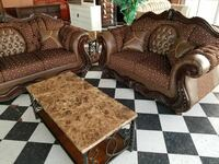 brown and beige floral fabric sofa set Garden City, 67846