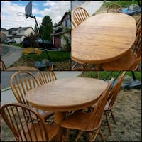 round brown wooden table with six chairs dining  Spokane, 99218