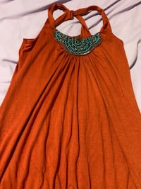 Burnt orange turquoise beaded top