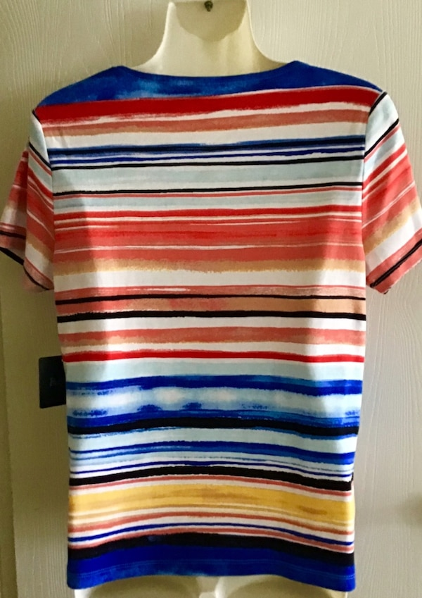 Rafaella Top short sleeve size MP NWT red blue yellow black 1