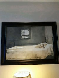 Dog on bed print