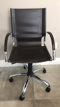 West Elm chocolate brown leather desk chair Wilton Manors, 33334