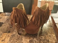 women's fringe brown platform stiletto booties Louiseville, J5V 1X7