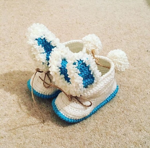 pair of blue-and-white knitted shoes