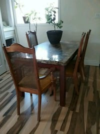 rectangular brown wooden table with six chairs dining set Sainte-Marthe-sur-le-Lac, J0N