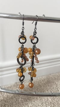 beaded brown-and-silver-colored drop hook earrings Innisfil, L9S
