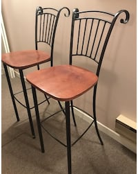 Set of 2 decorative bistro barstools with curled design