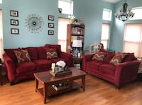 Red sofa and loveseat for sale