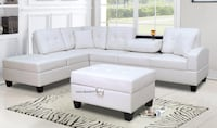 White or Black Leather Sectional**SALE**NO CREDIT NEEDED** Essex