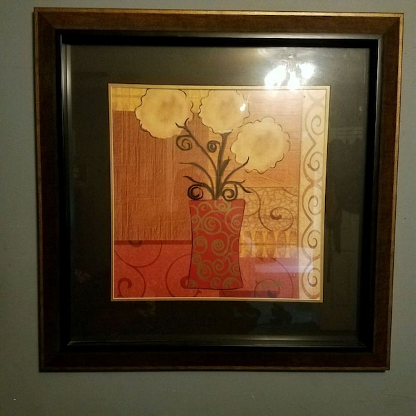 Used Brown Wooden Framed Painting Of Flowers For Sale In Powder