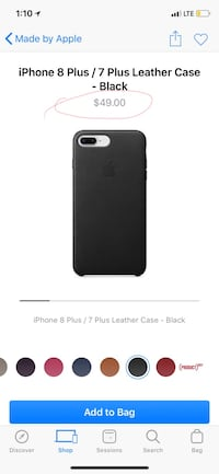 Like New Authentic Apple Leather Case for iPhone 8 plus, 7 plus, as pictured. Black genuine leather. What you see is exactly what you get. 10% more if shipping. I paid $54 including taxes, then upgraded phone a few weeks later!  518 mi
