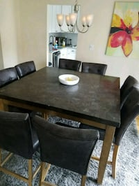 rectangular brown wooden table with six chairs dining set Livingston, 07039