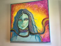 Blue, black and pink woman painting wall decor Newland, 28657