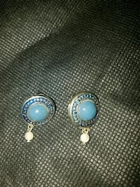 Blue stone and pearl Earrings