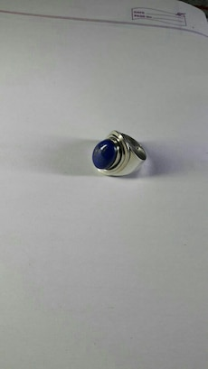 Lapis lazuli gemstone cabochon ring in sterling si