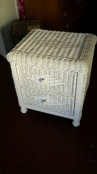 White wicker nightstand