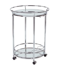 round gray metal framed glass top side table Washington, 20001