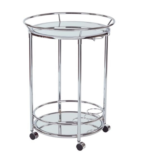 round gray metal framed glass top side table