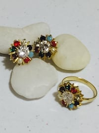 two gold-colored-and-red floral earrings Sayreville, 08872
