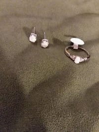White fire opal ring and earrings set (new)