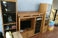 brown wooden TV hutch with flat screen television Brampton, L7A 2B9