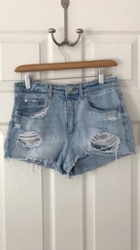Garage Light Washed Ripped Shorts  Victoria